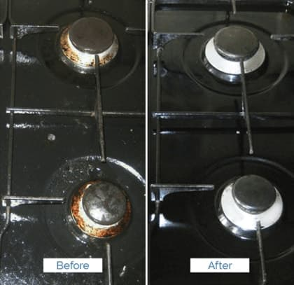 before and after cleaning of greasy gas oven burners
