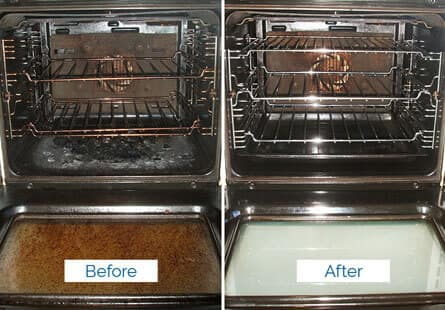 dirty oven before cleaning compared to its clean version after the service